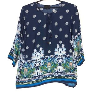Cynthia Rowley floral 3/4 sleeve tunic top A0020